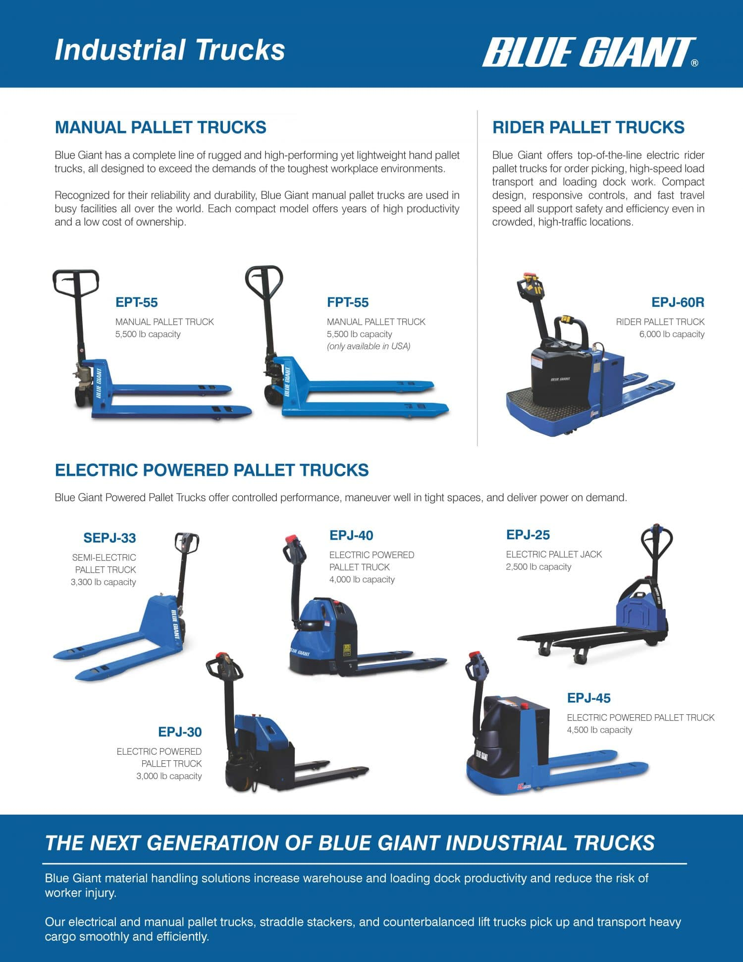Blue Giant Industrial Trucks, pallet trucks