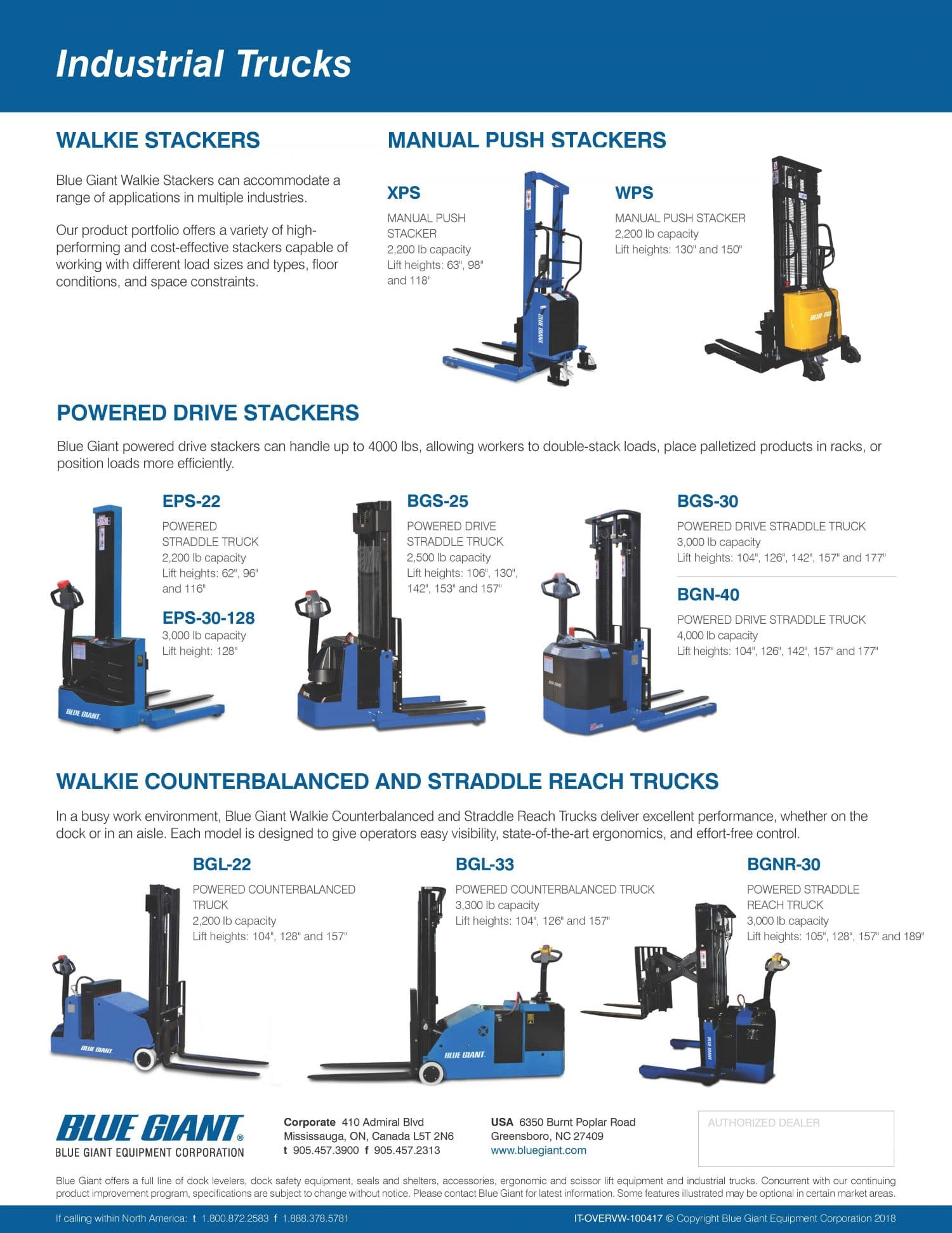 Walkie Stackers, Manual Push Stackers, Powered Drive Stackers
